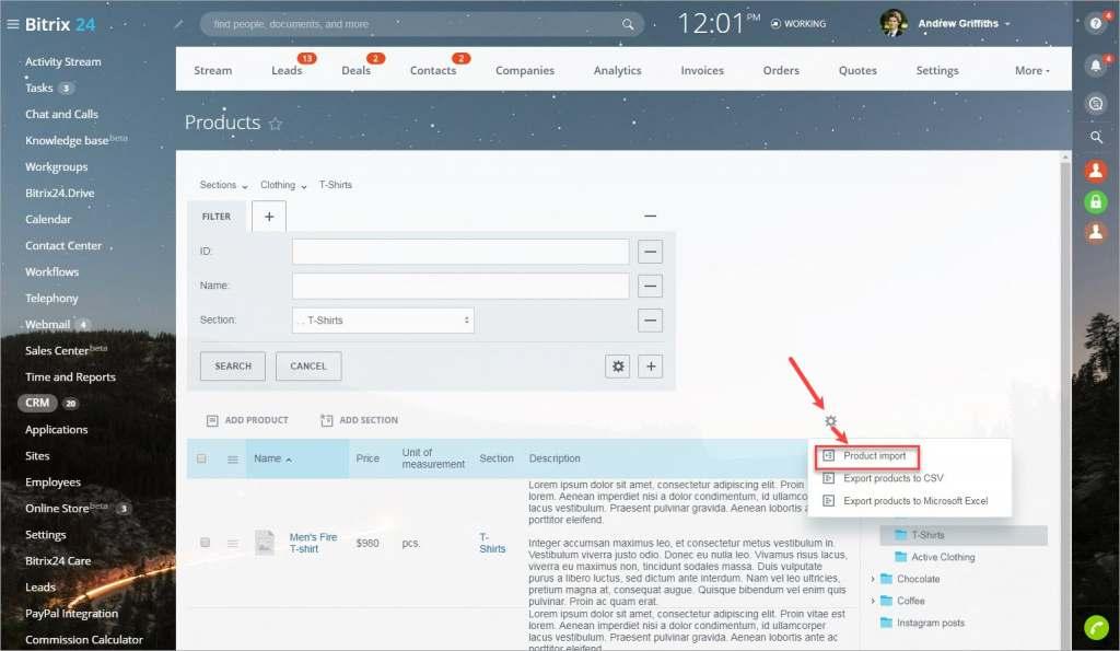Cập nhật sản phẩm bằng cách nhập tệp CSV