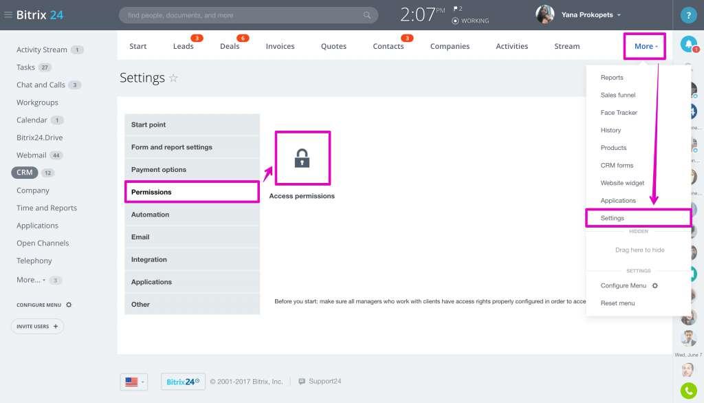 quyền truy cập trong crm trên bitrix24
