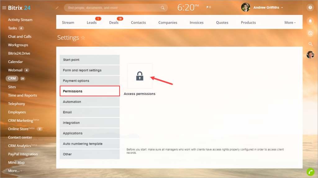 quyền truy cập vào các hoạt động trên bitrix24
