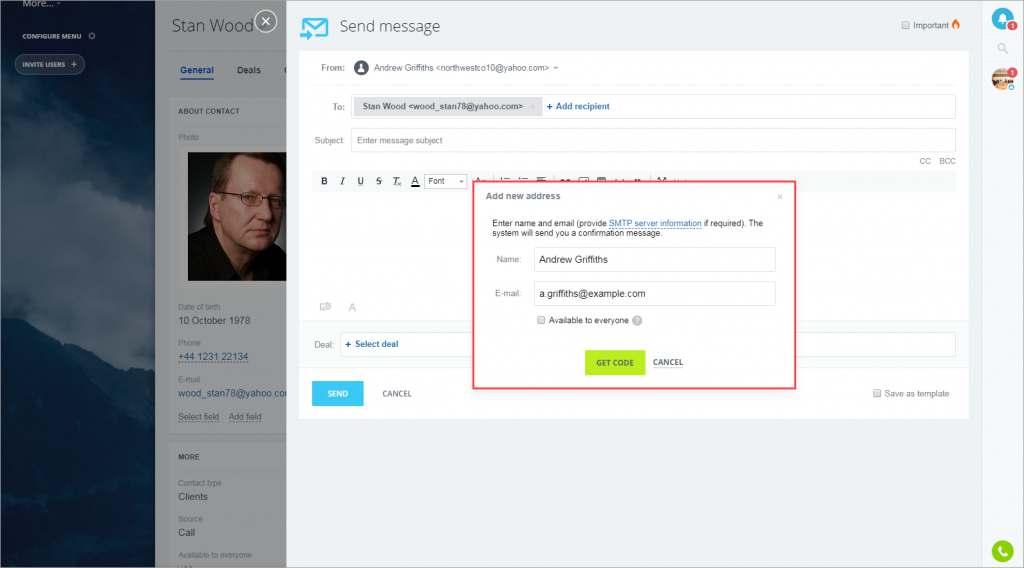 cách gửi email từ crm trên bitrix24