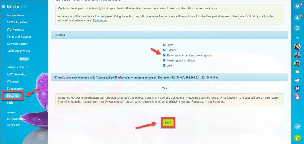 Cách tắt tùy chọn quản lý thời gian cho tất cả người dùng Bitrix24
