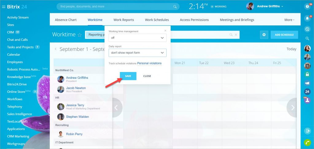 Tắt tùy chọn quản lý thời gian cho người dùng hoặc bộ phận cụ thể