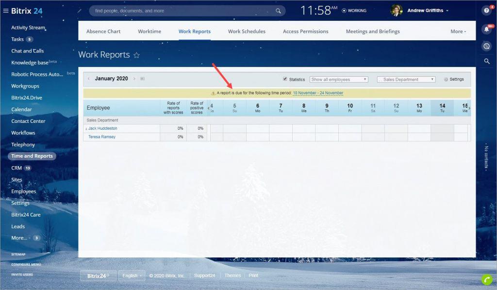 Thông báo khi chưa nộp Báo cáo công việc