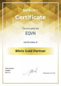 Chứng nhận Vàng đối tác Bitrix24 EQVN Gold Partner